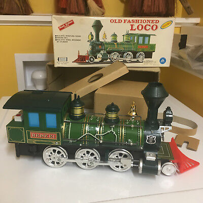 ALPS NOS LARGE B/O, TIN, PUSH BUTTON OLD FASHIONED LOCO! FULLY WORKING! WITH BOX