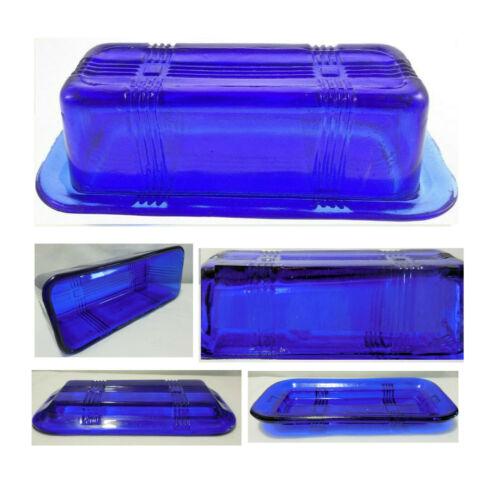 2 pc Cobalt Blue Glass Criss Cross 1/4 lb Stick Butter Dish & Lid