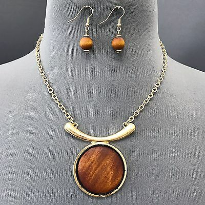 Matte Circle Pendant - Bohemian Matte Gold Chain Brown Wooden Circle Pendant Necklace With Earrings
