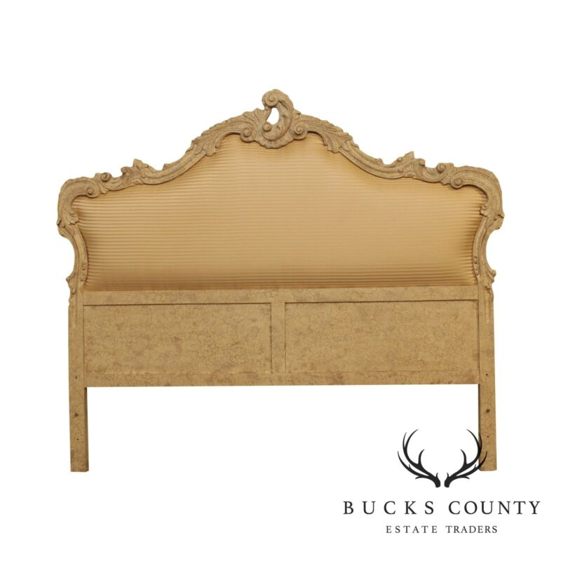 French Louis XV Style Crackle Painted & Upholstered King Side Headboard