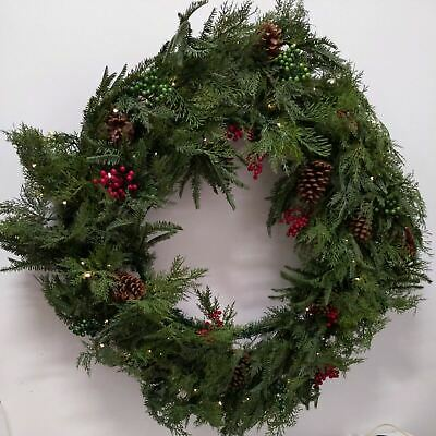 Balsam Hill 30in Winter Evergreen Wreath Pinecones, Berries, LED New In Open Box