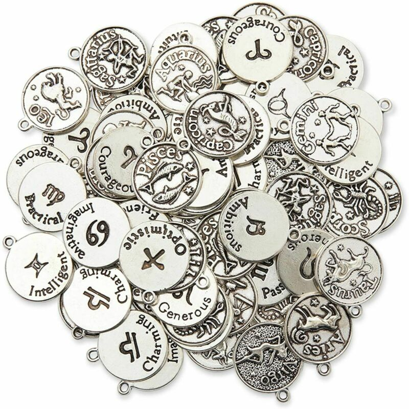 Bright Creations Zodiac Sign Charms for Jewelry Making (Silver, 72 Pieces)