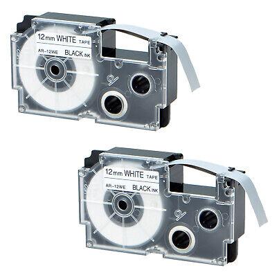 2 Pack Xr-12we Black On White Label Tape For Casio Kl-750 Ez Printer Kl-8200