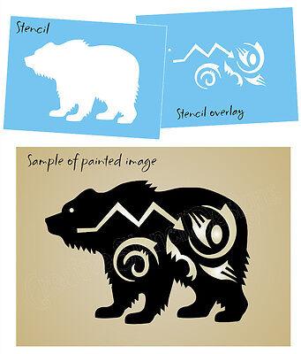 Bear Stencil Zuni Tribal Wilderness Animal Arrow design Wall Art Tattoo Signs