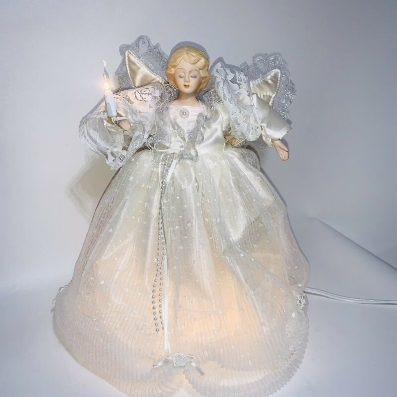 "Vintage Moving Lighted Christmas Tree Topper Lighted Angel 13"" White Dress"