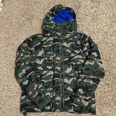 Superdry The Windcheater Dark Green Camo Blue Fleece Lining Jacket Size Large