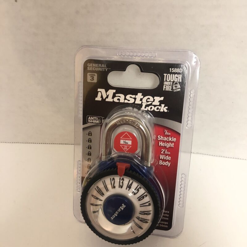 Master Lock Large Magnified Number Combination Lock - 1588D - Blue- J