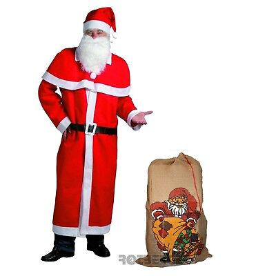 Weihnachtsmann Mantel Kostüm-Set 6-teilig großer Jutesack - Großer Mann Kostüm