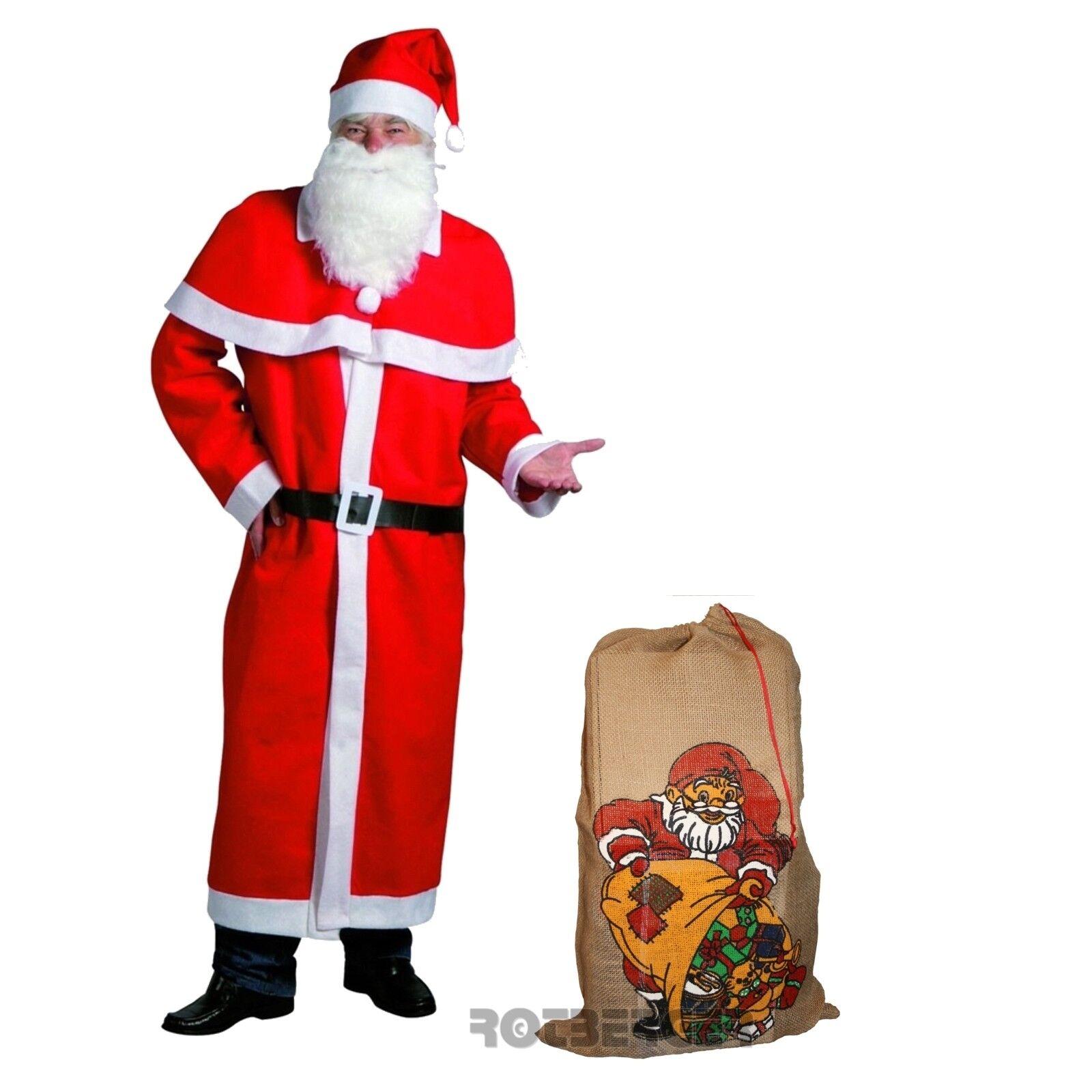 Weihnachtsmann Mantel Kostüm-Set 6-teilig großer Jutesack Weihnachtsmannmantel