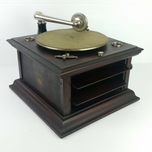 Antique Columbia Grafonola Hand Crank Phonograph Type Two Mahogany Works But