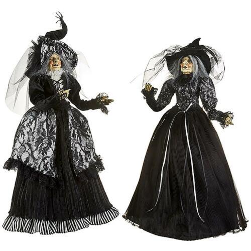"Set/2 RAZ Imports 24"" Posable Witch Doll Gothic Salem Black Hat Halloween Decor"