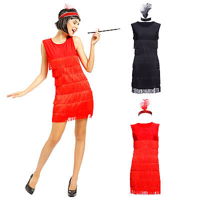 Ladies Sexy Red Black 1920s Fringed Flapper Girl Charleston Fancy Dress Costume - Red Flapper Dress Costume