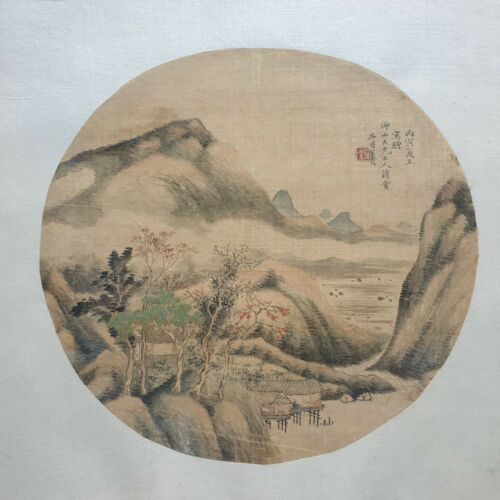 ANTIQUE CHINESE QING DYNASTY WATERCOLOR PAINTING SILK LANDSCAPE SIGNED 19thC