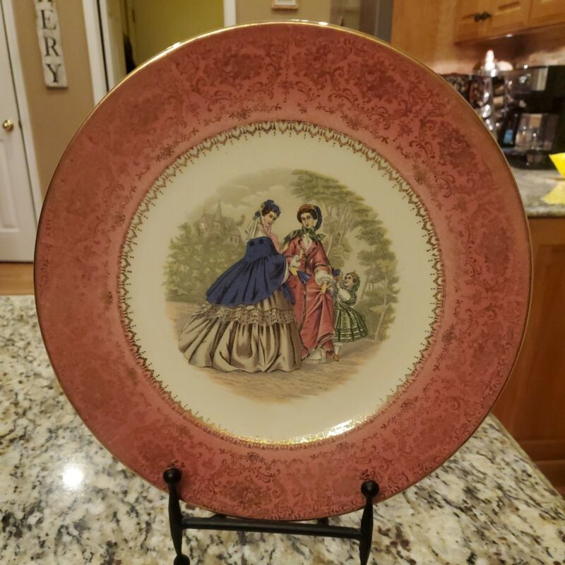 """Imperial Salem China Co. Gold Pink LADIES & CHILD Plate 10.75"""""""