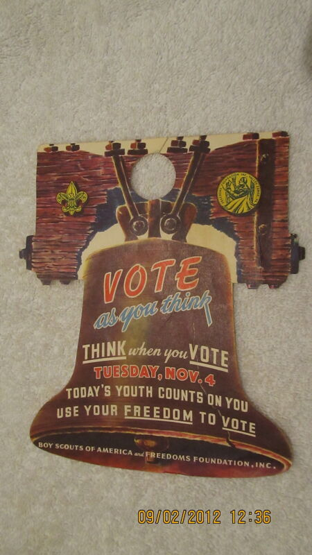 1952 Door Hanger Freedom to Vote With Liberty Bell BSA Boy Scouts Foundation