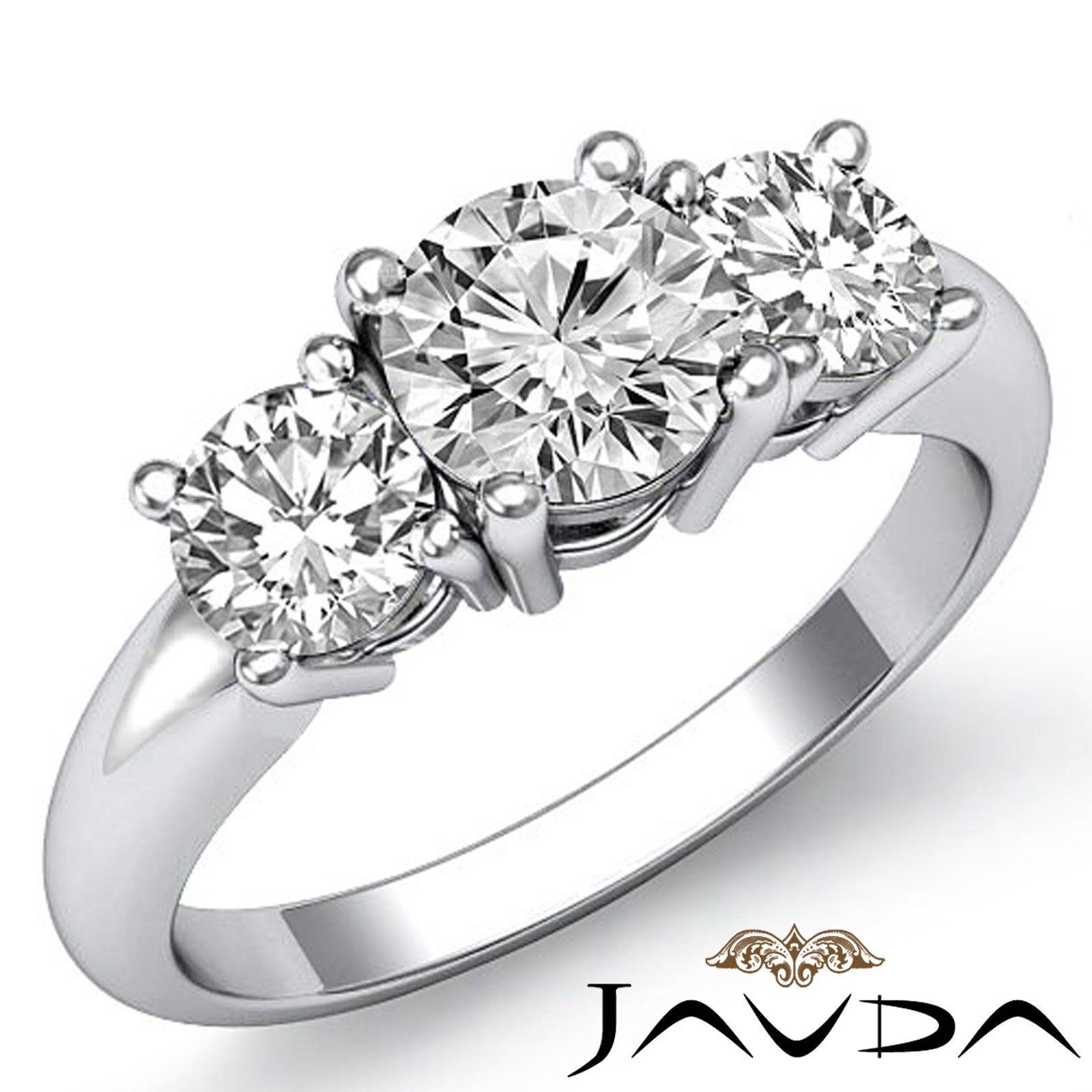 1.4ct Classic Three Stone Basket Round Diamond Engagement Ring GIA G-VVS1 W Gold