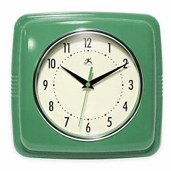 9 Green Square Retro Wall Clock Home Living Room Bedroom Kitchen Office Decor