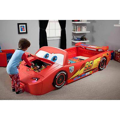 Delta Children Disney Cars Convertible Toddler to Twin Bed with Lights and Toy