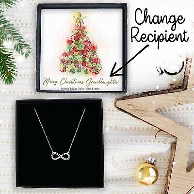 Christmas Present Ladies Jewellery Silver Infinity Necklace Xmas Gift Box Idea ()