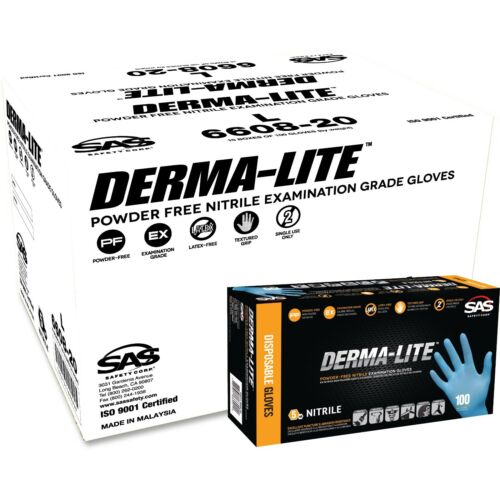 SAS DERMA-LITE Exam Grade Powder Free Nitrile Glove (Case of 10 boxes)