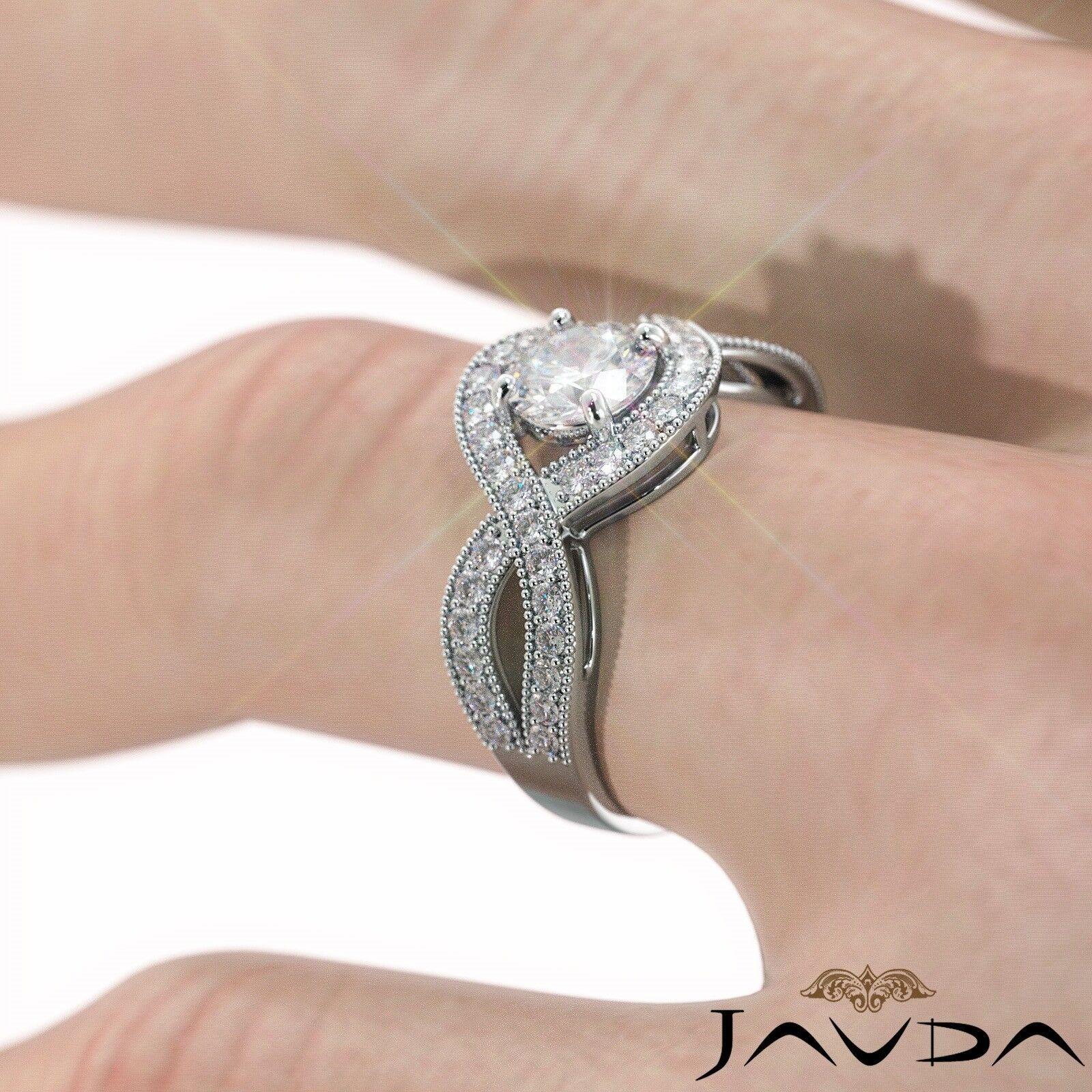 1.25ctw Milgrain Halo Side Stone Round Diamond Engagement Ring GIA G-VS1 W Gold 6