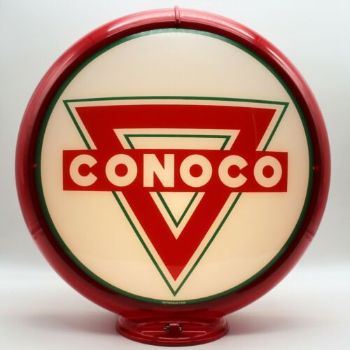 """CONOCO TRIANGLE 13.5"""" Gas Pump Globe SHIPS ASSEMBLED - READY FOR YOUR PUMP!!"""