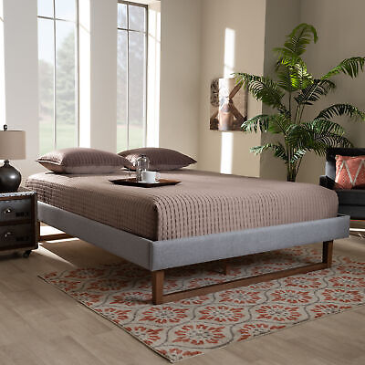 Baxton Studio Liliya Light Grey Fabric Full Size Platform Be