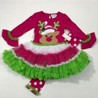Emily Rose NWT 2T 3T 4 Boutique Reindeer TUTU Dress Top Legging Outfit Christmas
