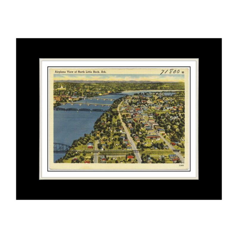 Arkansas Postcard Reprint - Airplane view of North Little Rock, Ark. - Matted fo