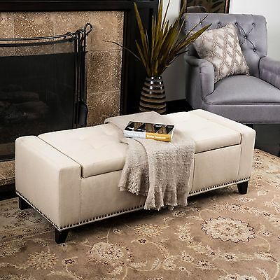 Contemporary Upholstered Tufted Top Fabric Storage Ottoman Bench w/ Nailheads