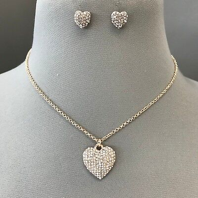 Gold Chain Clear Rhinestone Heart Charm Pendant Necklace With Earrings Gold Heart Charm Necklace