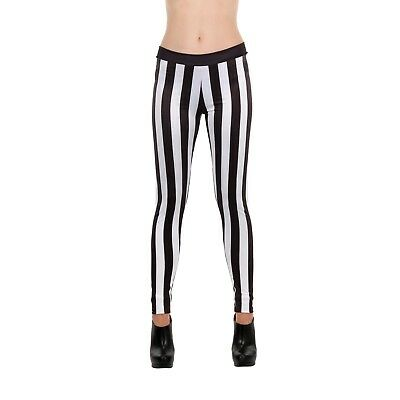 Women's Striped Black White Goalie Beetlejuice Pirate Football Costume Leggings - Women's Beetlejuice Costume