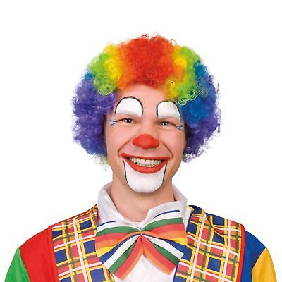 Mehrfarbig Regenbogen Zirkus Clown Afro Perücke Kostüm Karneval Haar Zubehör