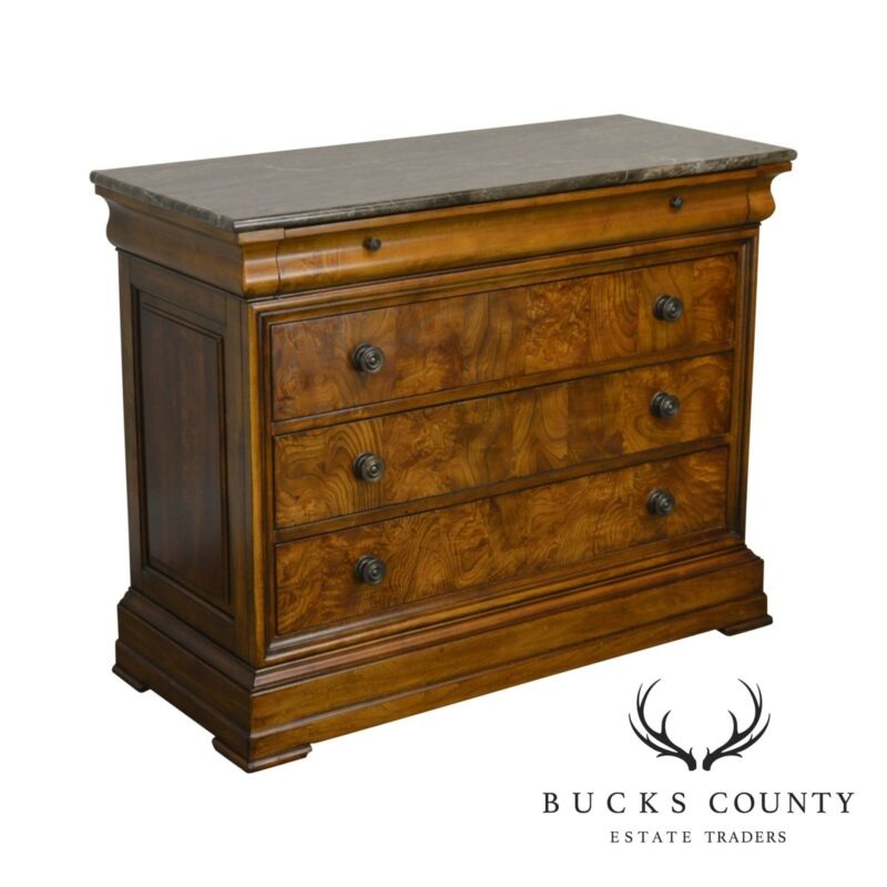 Ethan Allen Townhouse Collection Burlwood Marble Top 3 Drawer Chest