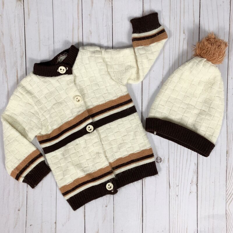 Vintage Playwear Baby Large Sweater Hat Set Brown Ivory Button Up Cardigan AS IS
