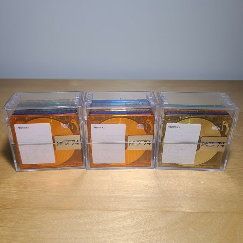 New 16 Memorex MD 74 MiniDiscs New in Jewel Case  Assorted Colors