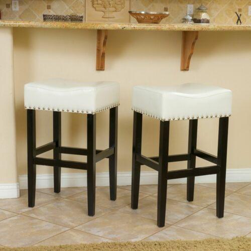 Chantal 30-Inch Ivory Leather Bar Stool (Set of 2) Benches, Stools & Bar Stools