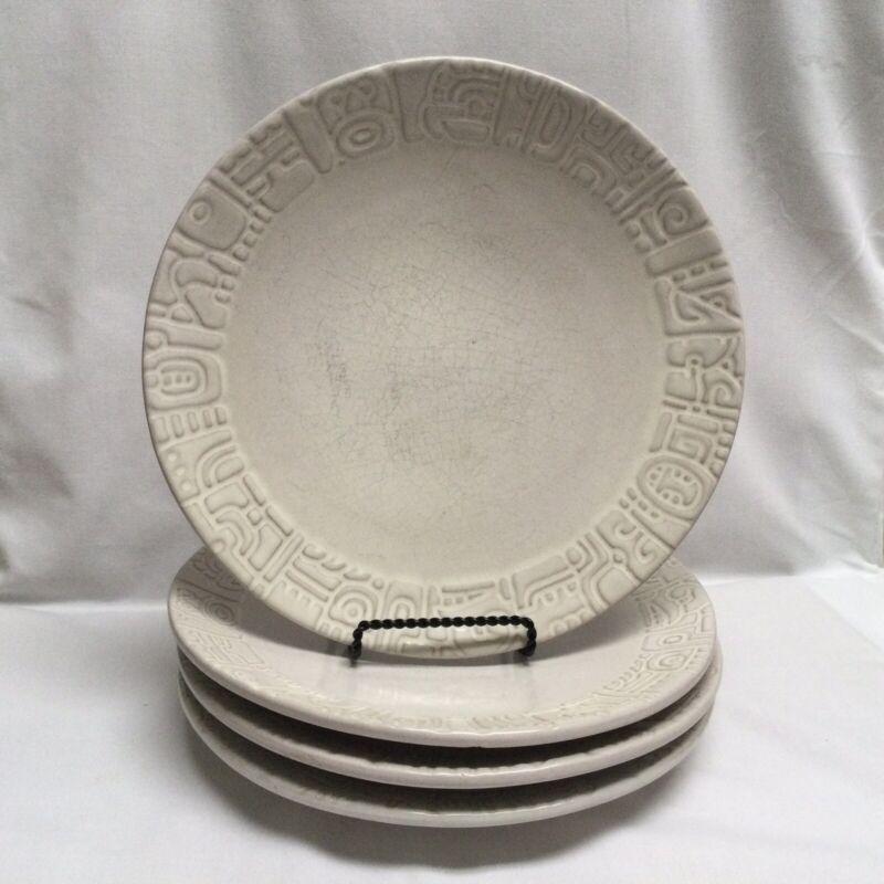 "Set of 4 Frankoma Mayan Aztec White Sand 7F - 9"" Small Dinner Salad Plates"