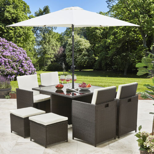 Garden Furniture - Rattan Cube Dining Table Garden Furniture Patio Set Grey Brown Black