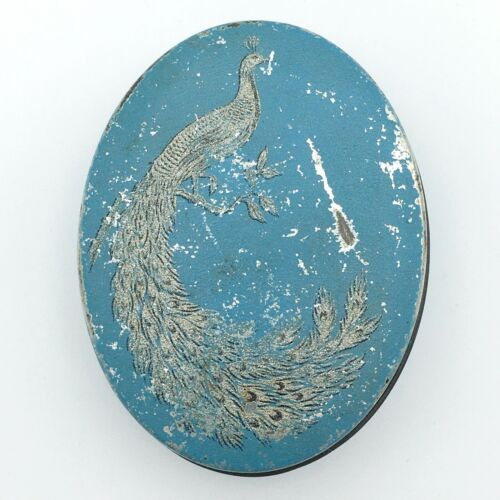 TINDECO? vintage oval peacock candy tin - pale blue with silver bird on branch