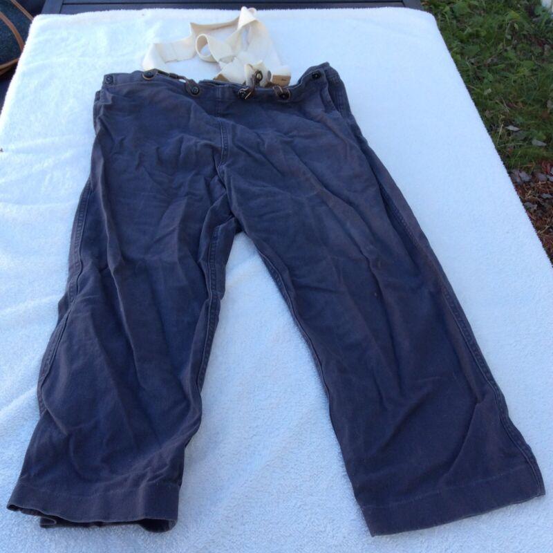 Vtg Old Civil War Uniform Pants Blue + White Suspenders Reenactment