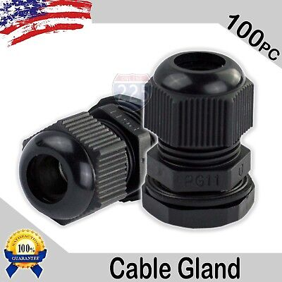 100 Pcs PG11 Black Nylon Waterproof Cable Gland 5-10mm Dia. w/ Lock-Nut & Gasket