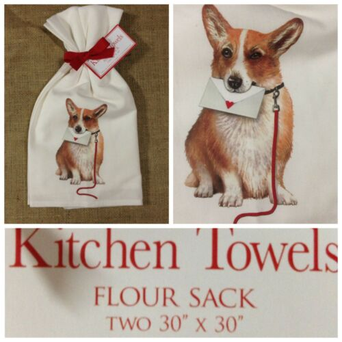 "NWT Set 2 Corgi Kitchen Towels Pembroke Welsh Corgi Kitchen Towel Gift 30"" x 30"""