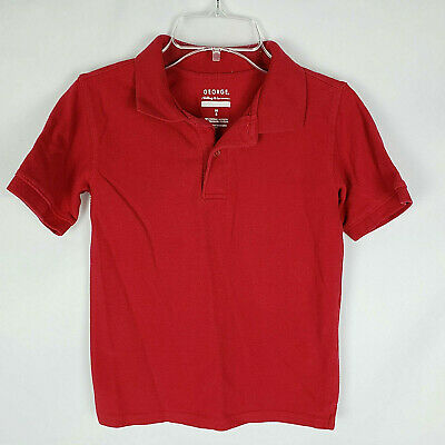 George Boys Uniform Short Sleeve Polo Shirt Red Size M/8 AG