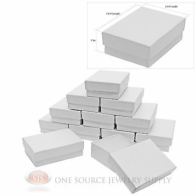 """12 White Swirl Cardboard Cotton Filled Jewelry Gift Boxes 3 1/4"""" X 2 1/4"""" X 1"""""""