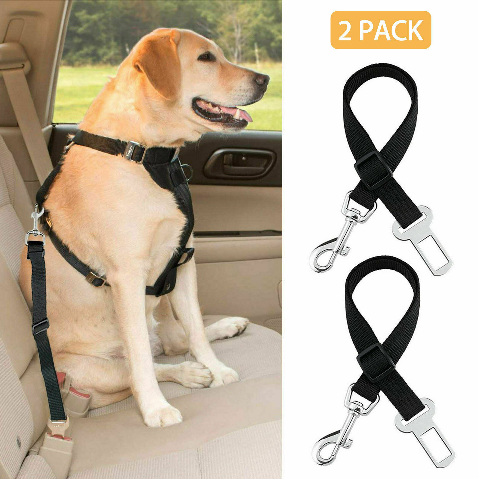 2 Pack Cat Dog Pet Safety Seatbelt for Car Seat Belt Adjustable Harness Lead Dog Supplies