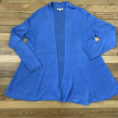 Eileen Fisher Open Front  Cardigan Linen Tunic Knit Stretch Sz M Long Sleeve A6