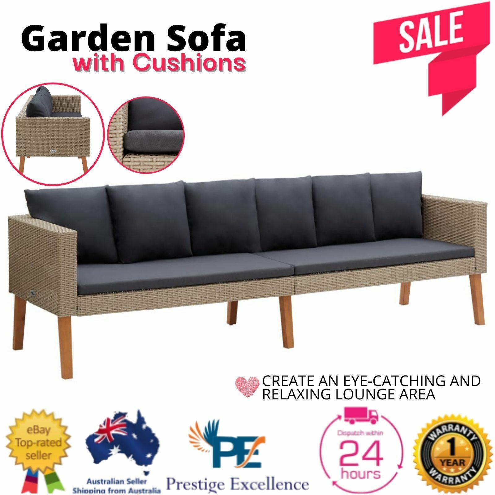 Garden Furniture - Garden Sofa Outdoor Furniture Lounge PE Wicker Rattan Setting Chair Couch Beige