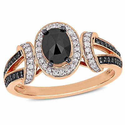 Amour 10k Rose Gold with Black Rhodium Black and White Diamond Engagement (Rose Gold Ring With Black And White Diamonds)