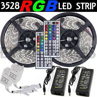 2 5M SMD RGB 3528 Waterproof LED Strip light 300 44 Key Remote 12V Supply Power